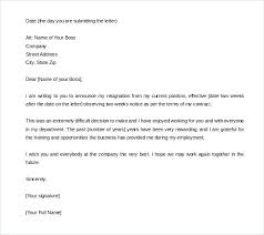 Sample Resignation Letter Professional Cool Weeks Notice