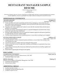 Restaurant Manager Resume Outathyme Com