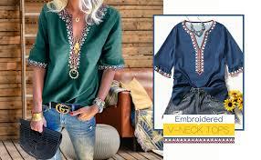 Asvivid Womens Boho Embroidered V Neck Short ... - Amazon.com