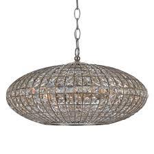 6 light antique silver crystal chandelier dd in golden shadow hand cut crystal