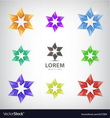 Logos With Stars Set Of Looped Stars Icons Logos For