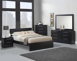 Black Furniture Of Minimalist Bedroom Interior Design With White - Grey carpet bedroom