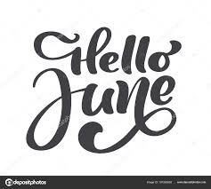 こんにちは6 月レタリング プリント ベクトル テキスト夏のミニマル