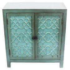 I Antique Teal Cabinet With 2Quatrefoil Doors