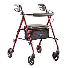 medline freedom mobility lightweight folding aluminum rollator walker with 6 inch wheels adjule seat