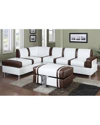 ultra modern two tone faux leather sectional sofa with ottoman cream brown