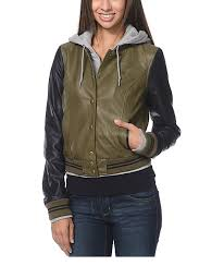 obey varsity lover army green black faux leather jacket
