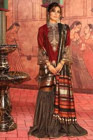 2 Piece Embroidered Suit With Jacquard Woven Dupatta