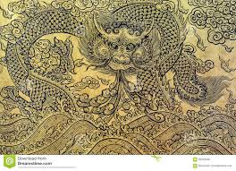 gold leaf art of chinese dragon