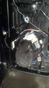adding subwoofers to the factory stereo dodgetalk dodge car here is the wire routing from the speaker out blue wire had to make a second notch in the speaker mount to get the new wire through
