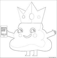 Coloriage Caca Emoji King Phone Dessin