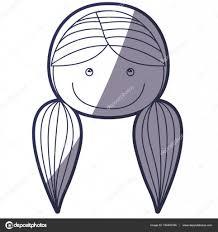 おさげの髪型と青い色輪郭似顔絵正面顔女の子 ストックベクター