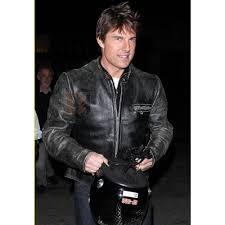 tom cruise black distressed motorcycle jacket black leather jacket