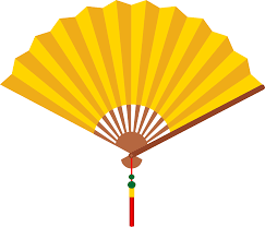 hand fan drawing. yellow chinese hand fan drawing s