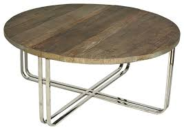 round wood and chrome coffee table