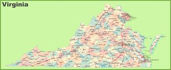 road map of virginia with cities