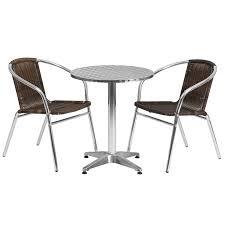 23 5 round aluminum indoor outdoor table set with 2 dark brown rattan chairs
