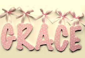 grace hand painted decorative hanging wood wall letters