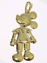 signed disney gold moving mickey mouse pendant