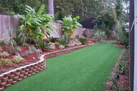 Nice Grass And Decorative Border For Tropical Backyard Landscaping Ideas  Using Rustic Wooden Fences