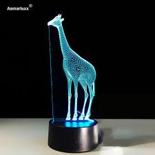 3d Giraffe Bureaulamp Cartoon Dier Illusion Licht Verbazingwekkende