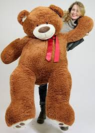Amazon.com: 5 Foot Very Big Smiling Teddy Bear Five Feet Tall Cookie Dough Brown Color with Bigfoot Paws Giant Stuffed Animal Bear: Toys \u0026 Games