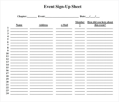 Sign Up Sheet Free Printable Sign Up Sheets For Events Event Sign Up Sheet Template Free