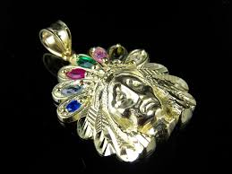 men s 10k yellow gold native american indian chief head pendant charm 1 1 in