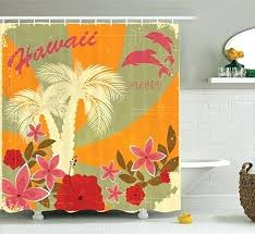 amazing hawaiian themed shower curtains shower curtain sets a decorations collection aloha vintage style print colorful swirl background dolphins palm trees