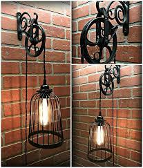 pulley lighting. vintage black bird cage wall pulley light industrial farmhouse steampunk edison lighting