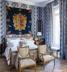 Lovely The Master Bedroom Wall Upholstery And Curtains Are Of A Madeleine Castaing  Fabric; The Embroidered Banner Displayed Over The Bed Bears The Crest Of A  Noble ...