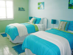 Twin room I decorated for children in our beach house. Fun with aqua and  lime
