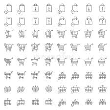 shopping cart web shopping cart or shop basket vector icons for web merchandise and e