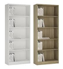 wide bookcase 5 tier storage display shelves unit tall bookshelf rack sonoma oak or pearl white