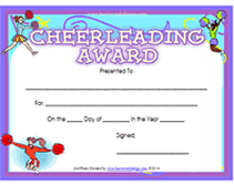 Printable Cheerleading Awards Certificates
