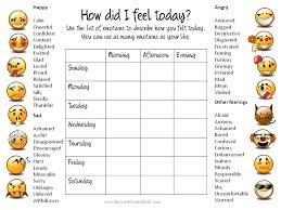 Weekly Chart With List Of Feelings Feelings Chart