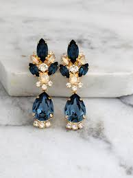 blue navy earrings dark blue bridal earrings navy blue chandelier earrings blue navy champagne swarovski earrings bridal drop earrings