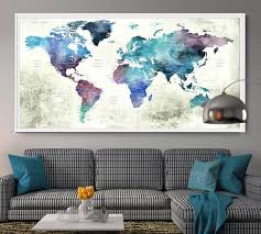world map wall decor contemporary ideas push pin world map poster print wall artwall art print