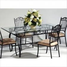glass and metal dining table and chairs. chintaly rectangular glass top wrought iron table in antique taupe and metal dining chairs e