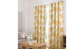 Watercolour Floral Curtains - Yellow