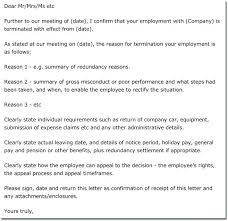 Employment Termination Letter Templates Termination Letter Templates Employee Termination Letter Sample