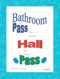 Hallway Pass Template Bathroom Pass And Hall Pass Teachervision