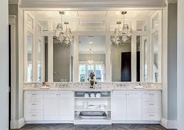 chandelier over vanity
