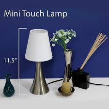 One Touch Lamps Bedroom Simple Designs Lt2014 Wht 2pk Valencia Brushed Nickel Mini Touch