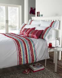 red  white colour stylish striped ruffle modern duvet cover