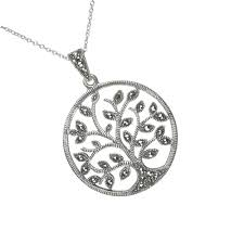 marcasite tree of life large sterling silver pendant