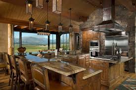 rustic pendant lighting kitchen. rustic kitchen design with view due to large glass window decorated pendant lighting and leather stools