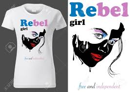 T Shirt Design For Drawing Women White T Shirt Design With Abstract Face Drawing And Text