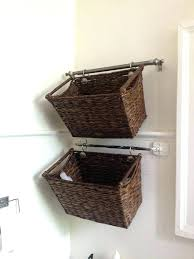 wall mounted baskets stylish bathroom storage house decorations hanging intended for idea wire basket with hooks