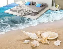 custom 3d flooring self adhesive wallpaper Beach waves 3d floor ...
